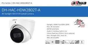 دوربین مداربسته آنالوگ دام داهوا HD-CVI مدل DH-HAC-HDW2802TP-A